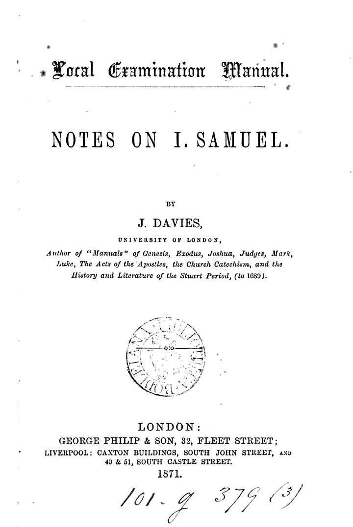 Local examination manual. Notes on i. Samuel