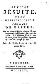 Article Jésuite tiré de l'Encyclopédie