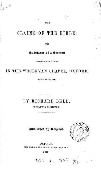 The claims of the Bible  The substance of a sermon PDF
