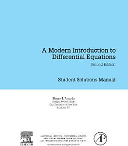 Student Solutions Manual  A Modern Introduction to Differential Equations PDF