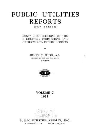Public Utilities Reports  New Series  PDF