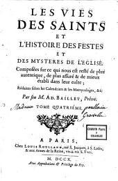 Des vies des saints et l'histoire des fêtes et des mystères de l'Eglise