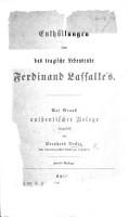 Enth  llungen   ber das tragische Lebensende Ferdinand Lassalle s  Auf Grund authentischer Belege     Zweite Auflage PDF