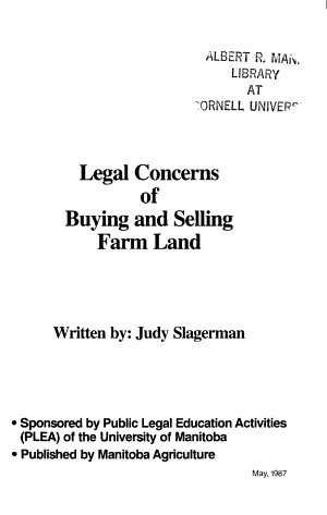 Legal Concerns of Buying and Selling Farm Land