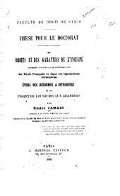 Des droits et des garanties de l'inculpé pendant l'instruction préparatoire en droit français et dans les législations étrangères: Étude des réformes à introduire et du projet de loi soumis aux chambres