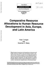 Comparative Resource Allocations to Human Resource Development in Asia, Europe, and Latin America: Volume 811