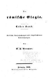 Die Römische Elegie: Volumes 1-2