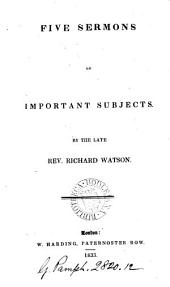 Five sermons on important subjects: Volume 12