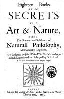 Eighteen Books of the Secrets of Art   Nature PDF