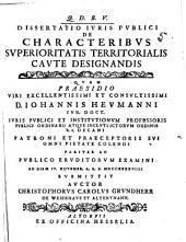 Diss. ... de characteribus superioritatis territorialis caute designandis