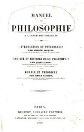 Manuel de philosophie à l'usage des collèges: introduction et psychologie