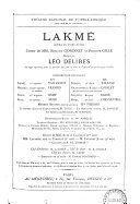 Lakmé: opéra en 3 actes. poème de MM. Edmond Gondinet & Philippe Gille. Partition chant et piano [par Auguste Bazille]