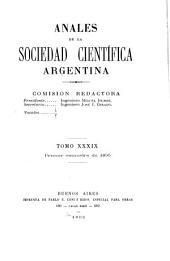 Anales de la Sociedad Científica Argentina: Volumen 39