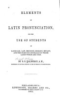 Elements of Latin Pronunciation PDF