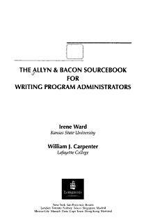 The Allyn   Bacon Sourcebook for Writing Program Administrators PDF