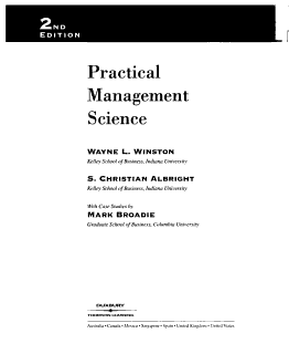 Practical Management Science  Text Book