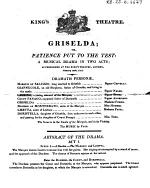 King's Theatre. Griselda; Or, Patience Put to the Test