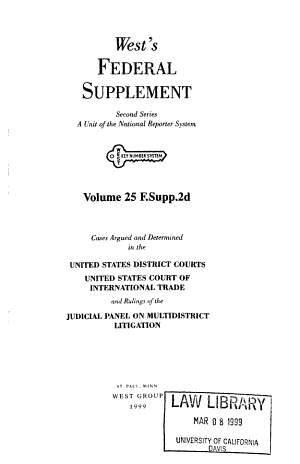 West s federal supplement  Second series PDF