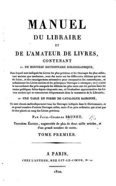 Download Manuel Du Libraire Et de L amateur Des Livres Book
