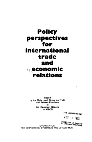 Policy Perspectives for International Trade and Economic Relations