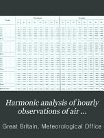Harmonic Analysis of Hourly Observations of Air Temperature and Pressure at British Observatories PDF