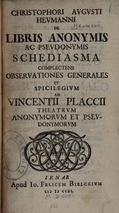 De Libris Anonymis Ac Pseudonymis Schediasma