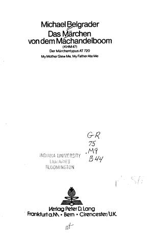 Das M  rchen von dem Machandelboom  KHM 47  PDF