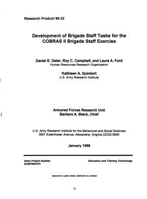 Development of Brigade Staff Tasks for the COBRAS II Brigade Staff Exercise PDF
