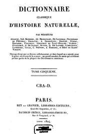 Dictionnaire classique d'histoire naturelle: Cra - D, Volume5