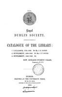 Royal Dublin society  Catalogue of the library  by J F  Jones  E R P  Colles PDF