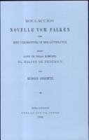 Boccaccios Novelle Vom Falken Und Ihre Verbreitung in Der Litteratur PDF