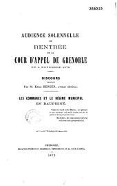 Les communes et le régime municipal en Dauphiné