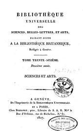 Bibliothèque universelle des sciences, belles-lettres et arts: Volume36