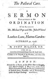 The Pastoral Care: a Sermon [on Phil. Ii. 20].
