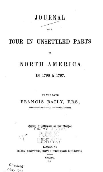 Download Journal of a Tour in Unsettled Parts of North America in 1796   1797 Book