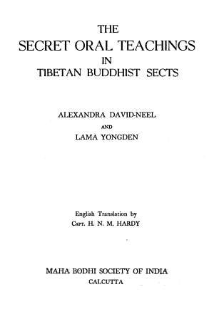 The Secret Oral Teachings in Tibetan Buddhist Sects PDF