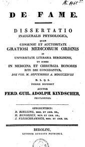 De fame: dissertatio inauguralis ...
