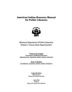 American Indian Resource Manual for Public Libraries