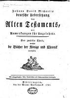 Johann David Michaelis deutsche Uebersetzung des Alten  and des Neuen  Testaments PDF