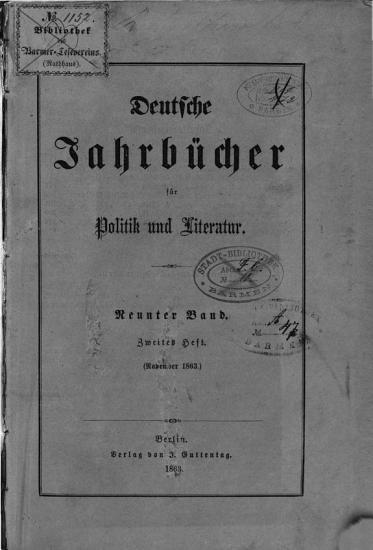 Deutsche Jahrb  cher f  r Politik und Literatur PDF