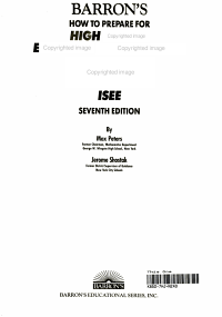 Barron s how to Prepare for High School Entrance Examinations  SSAT  ISEE
