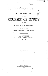 State Manual of the Courses of Study for the High Schools of Oregon