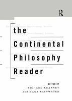 The Continental Philosophy Reader PDF
