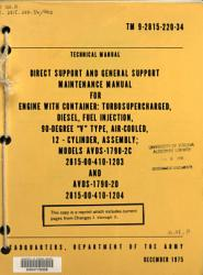 Direct Support And General Support Maintenance Manual For Engine With Container Turbosupercharged Diesel Fuel Injection 90 Degree V Type Air Cooled 12 Cylinder Assembly Models Avds 1790 2c 2815 00 410 1203 And Avds 1790 2d 2815 00 410 1204 Book PDF