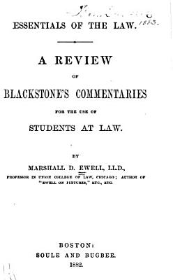 A review of Blackstone s commentaries for the use of students at law  1882 PDF