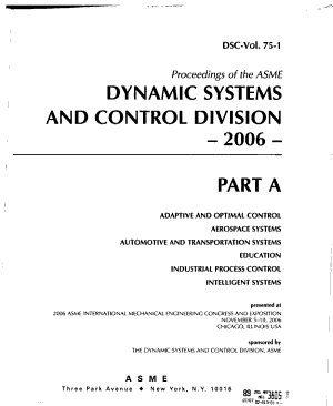 Proceedings of the ASME Dynamic Systems and Control Division PDF