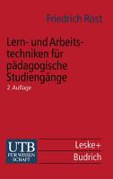 Lern  und Arbeitstechniken f  r p  dagogische Studieng  nge PDF