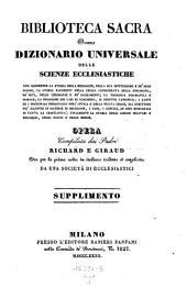 Biblioteca sacra ovvero Dizionario universale delle scienze ecclesiastiche... per la prima volta ... tradotta ed ampliata da una societa di ecclesiastici: Volume 22