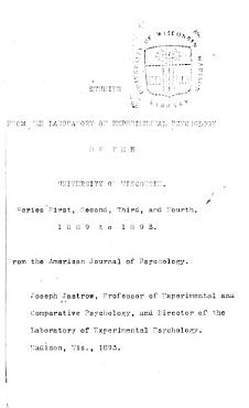 Studies from the Laboratory of Experimental Psychology of the Univ  of Wisconsin  1889 93 PDF
