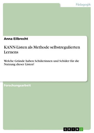 KANN Listen als Methode selbstregulierten Lernens PDF